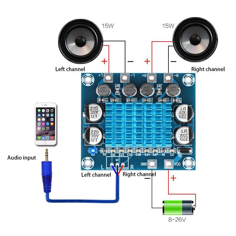 TPA3110 XH-A232 30W+30W 2.0 Channel Digital Stereo Audio Power Amplifier Board DC 8-26V 3A C6-001Class D Amplifiers Diy Board
