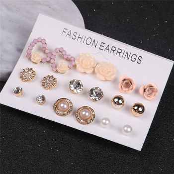 12/ 9 Pairs/Set Pearl Flower Crystal Studs Earrings Women' Girls Elegant Rose Flower Heart Ear Studs Earring Jewelry Gift