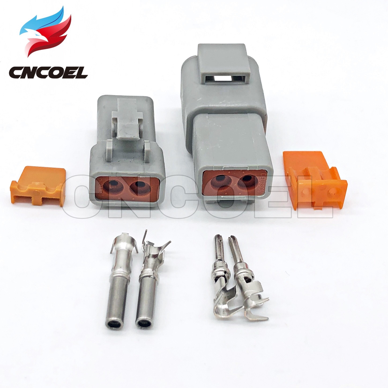 Deutsch DTP 2 Pin Gray Male Female Waterproof Electrical Auto Connectors Plug DTP06-2S DTP04-2P