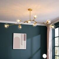 Moderne Metall LED Kronleuchter Beleuchtung Glanz Wohnzimmer Villa Innen Decor Anhänger Lampe Beleuchtung Glas Ball Küche Leuchten
