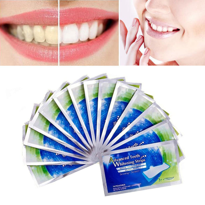 2 Pcs/bag 3D Advanced Teeth Whitening Strips White Gel Teeth Whitening Strips Removal Stain Dental Bleaching Tools TSLM1