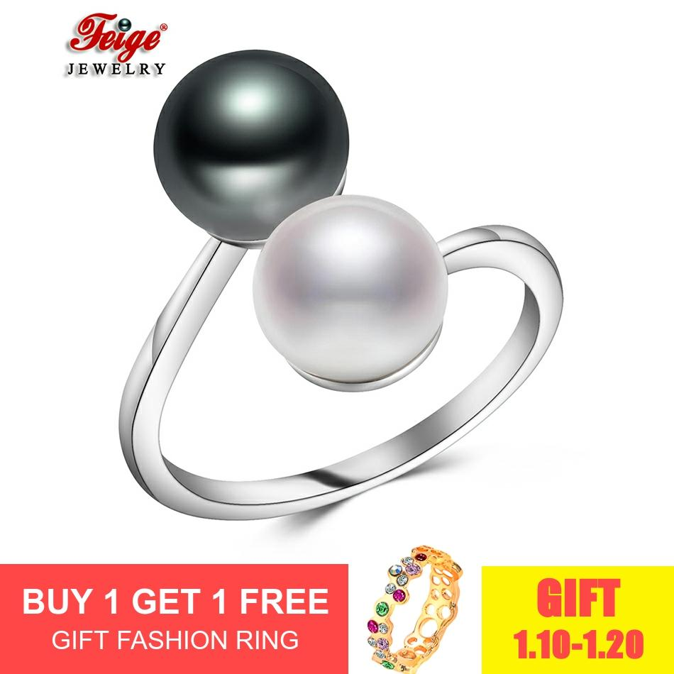 Trendy 925 Silver Ring For Women Bijoux Party Gifts Two Colors 8-9MM Freshwater Cultured Pearl Ring Fine Jewelry Dropshipping
