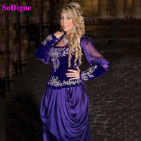 SoDigne Short Moroccan Caftan Evening Dresses Long Sleeves Karakou algerien Gold Lace Applique Dubai Prom Gowns
