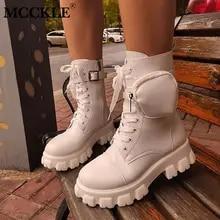 Botas femininas com cordão de bolso feminino Botas de tornozelo femininas Botas militares de combate de salto grosso com zíper Bota curta feminina sapatos com plataforma novos