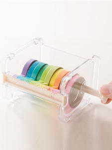 Organizer Cutter Stationery-Supply Tape-Dispenser Storage-Box Transparent School Adhesive