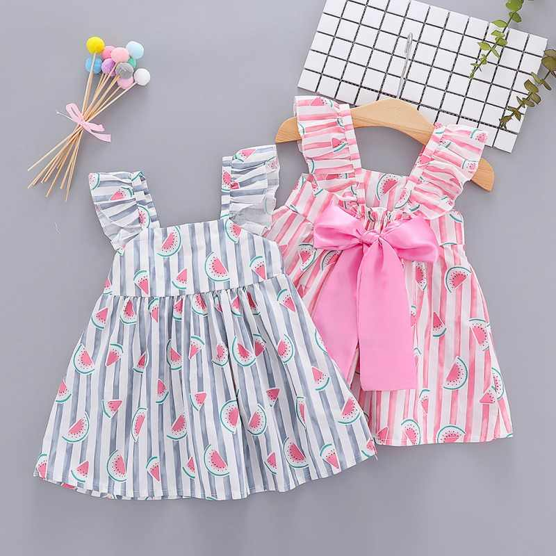 Summer Casual Baby Girl Newborn Baby Girl Dress Sleeveless Bow-knot Cute Lemon Watermelon Princess Dresses Kids Toddler  0-4Y