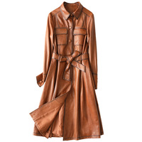 Classic Long Leather Coat Slim Women Sheepskin Genuine Leather Jackets High Quality Long Sleeves Jackets with Sashes Pockets