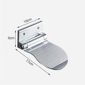 Image 5 - LIUYUE poggiapiedi doccia nero/argento in lega di alluminio a parete pedale ausiliario poggiapiedi supporto Hardware semplice