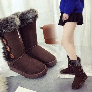 Image 5 - Buty damskie śniegowce duże rozmiary wysokie rurki klasyczne modele z grubego polaru jesienne zimowe buty śnieżne w dużych rozmiarach z bawełny buty buty dobrej jakości
