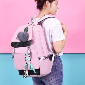 Image 5 - OKKID الأطفال الحقائب المدرسية للفتيات لطيف الوردي على ظهره المدرسية الكورية نمط bowknot الفراء الكرة فتاة حقيبة المدرسة bookbag