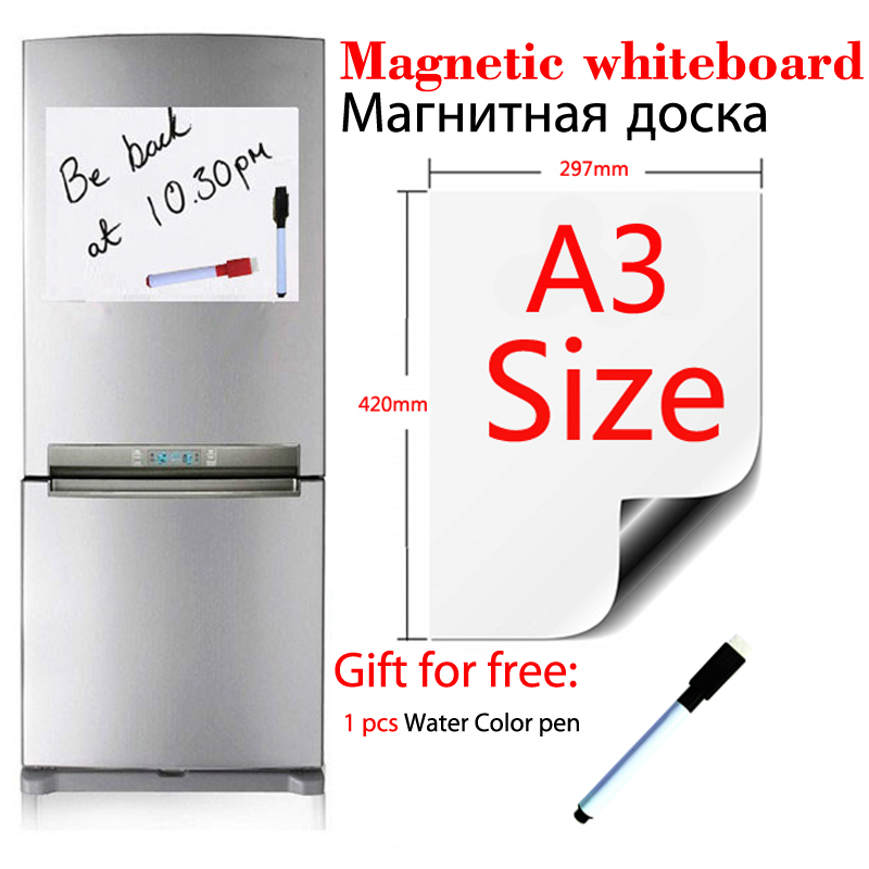 A3 Size Magnetic Whiteboard Fridge Sticker Dry Erase White Boards School Home Office Kitchen Message Board Gift 1Black Pen