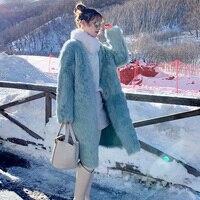 Fur & Faux Fur Winter Fashion Women Coat New High quality Mink Fur one Large size Solid color Medium length Loose Women Fur coat