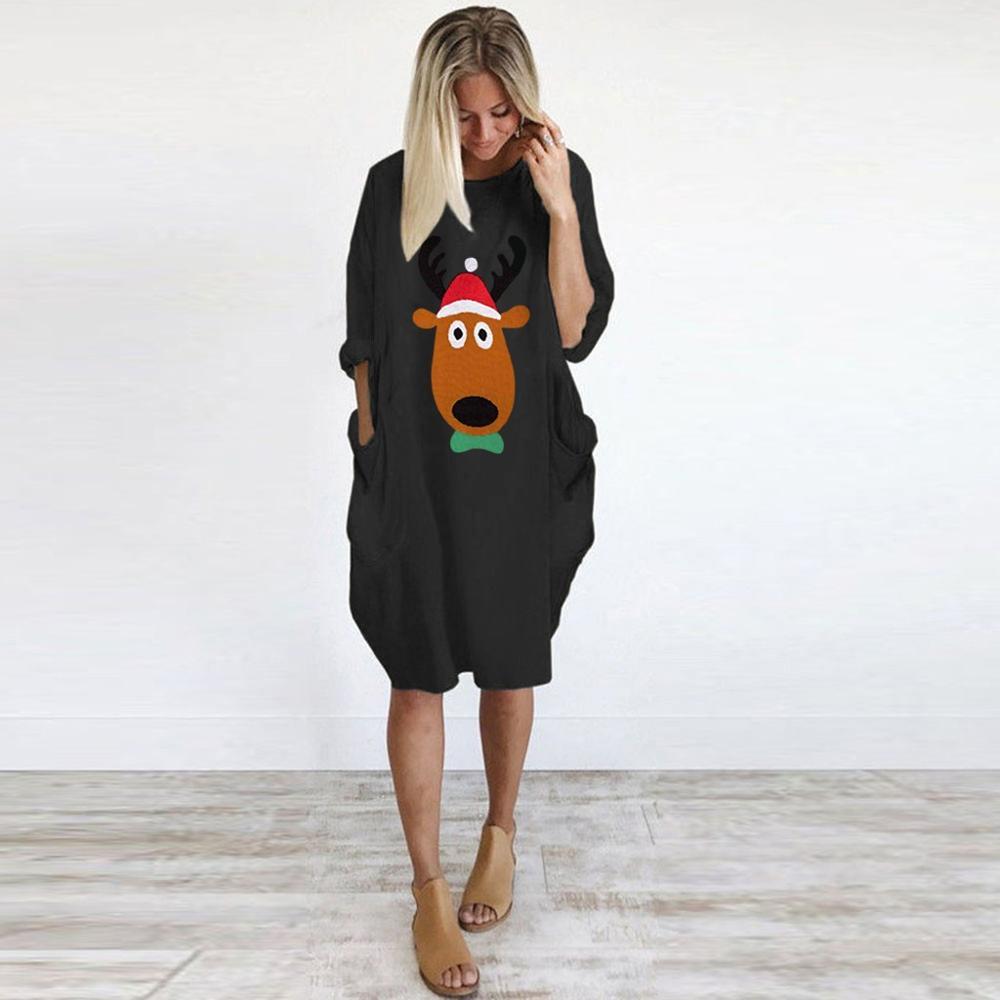 christmas dresses plus size ladies o neck long sleeve pocket loose antlers  print dress christmas dress women 3