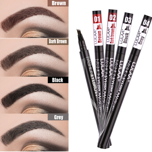 Liquid Eyebrow Enhancer Eyebrow Tattoo Pen Sketch Waterproof Eyebrow Pencil 4 Head Long-lasting Eye Makeup eyebrow pen