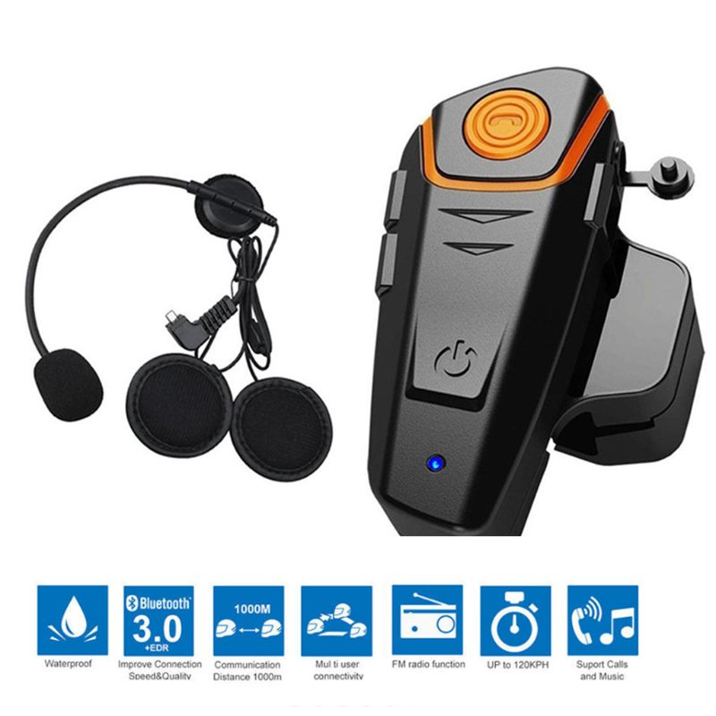 Bluetooth For Motorcycle Helmet Headset Wireless Intercom Interphone BT-S2 Walkie-Talkie Supports FM Radio GPS Voice Command