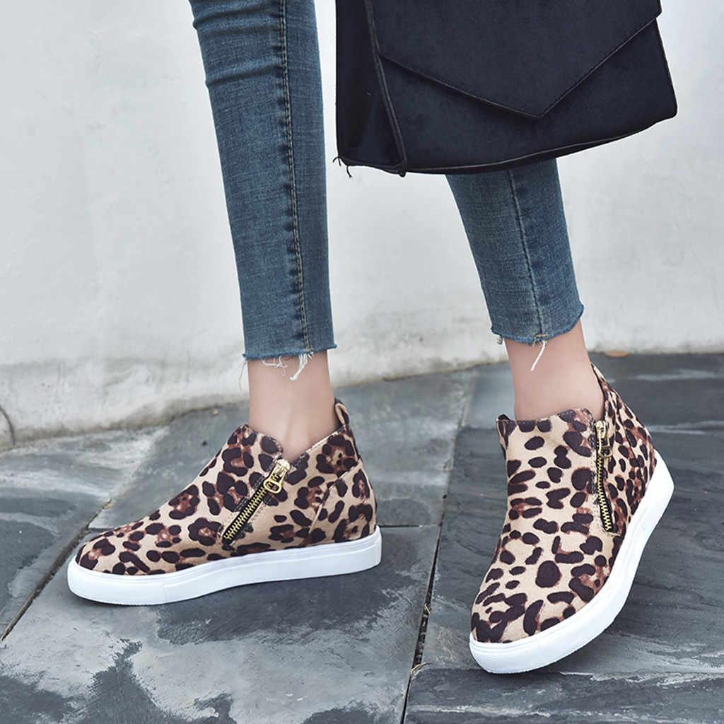 Leopar Botları Kadın Rahat Düz Fermuar Artı Boyutu tek ayakkabı 2019 Sonbahar Kış Öğrencileri koşu ayakkabıları kadın zapatos de mujer
