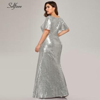 Plus Size Rose Gold Mermaid Women Dresses Short Sleeve Sequined V-Neck Bodycon Elegant Maxi Dresses For Party Robe Femme 2020 5