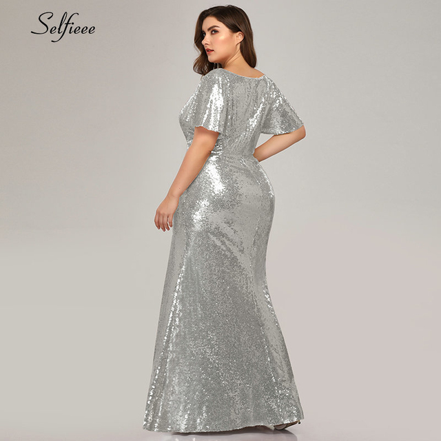Plus Size Rose Gold Mermaid Women Dresses Short Sleeve Sequined V-Neck Bodycon Elegant Maxi Dresses For Party Robe Femme 2020 5
