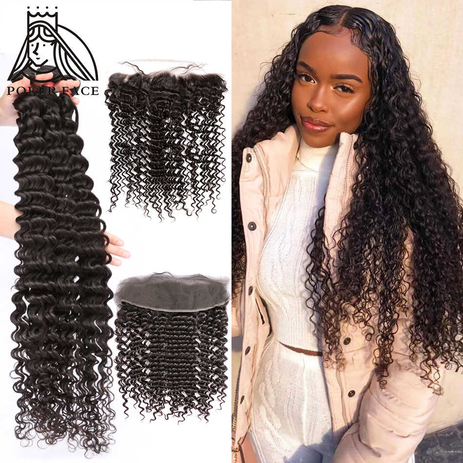 28 30 32 40 Inch Deep Wave Brazilian Hair Weave 3 4 Bundles With Lace Frontal Water Curly Double Drawn Bundles And Closure Remy