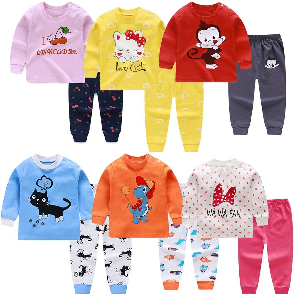 Новые пижамные комплекты для малышей, 2020 год хлопковая футболка с длинными рукавами + штаны, одежда для девочек с героями мультфильмов осенний Пижамный костюм из 2 предметов Пижамные брюки