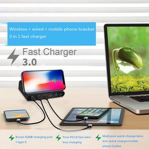 Image 2 - Беспроводное зарядное устройство Qi, 60 Вт, базовая Зарядка для Iphone X XS MAX, мульти USB, зарядное устройство для мобильного телефона, быстрая зарядка 3,0 для Samsung S9 S8