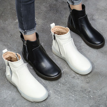 PEIPAH Women Genuine Leather Short Boots Ladies Platform Shoes Woman Flat with Solid Winter Ankle Boots Female Motorcycle Boots