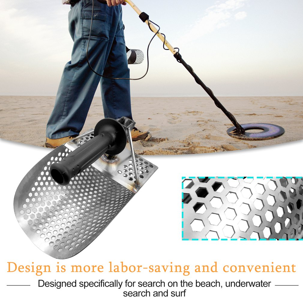 Beach Sand Scoop With Handle Metal Detecting Tool Stainless Steel Detector Water Metal Detecting Fast Sifting Metal Detector