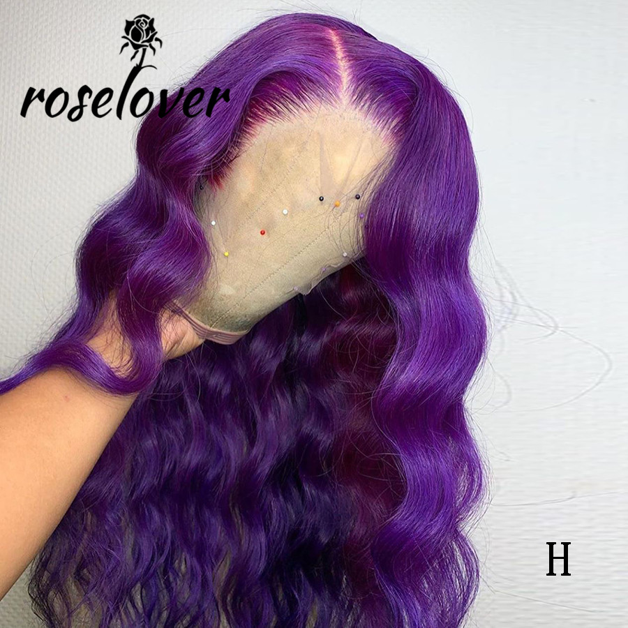 Brazilian Remy Lace Front Wig Purple Colored Human Hair Wigs Body Wave Lace Front Human Hair Wigs For Black Women Pre Plucked
