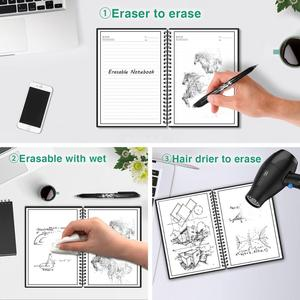Image 5 - NeWYeS A4 Wet Erasable Reusable Smart Writing Notebook Black Waterproof Paper Auto Scan Customized Gift Wire Bound Spiral Notes