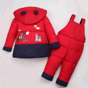 Image 2 - 2018 nuevos trajes de invierno para niños, chaqueta de plumón de pato para niños y niñas, abrigos y abrigos + Pantalones de 2 uds., conjunto cálido de Snowsuits para niñas