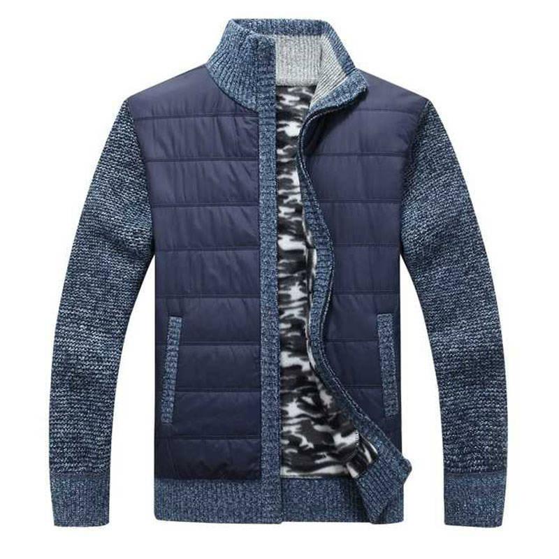 New Arrival Autumn Winter Sweater Men Fashion Patchwork Turtleneck Long Sleeve Cardigan Men Thick Warm Fleece Knitted Wear