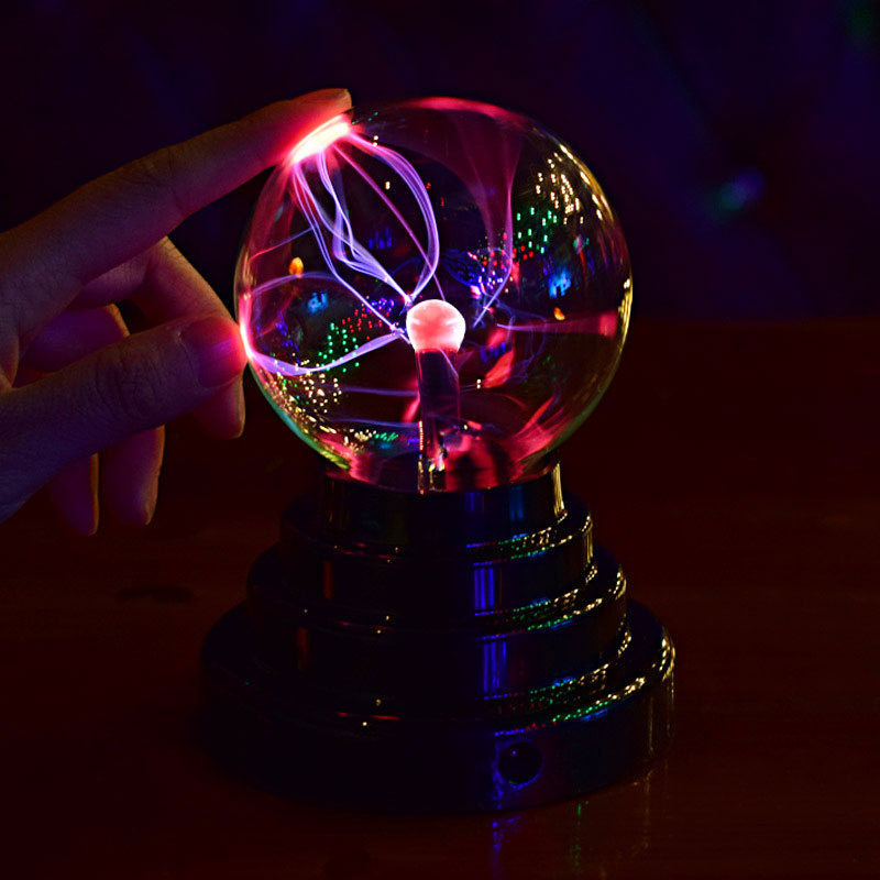 Colorful USB Magic LED Glass Lamp Black Base Glass Plasma Ball Lamp Sphere Lightning USB Battery Decoration Novelty Night Light