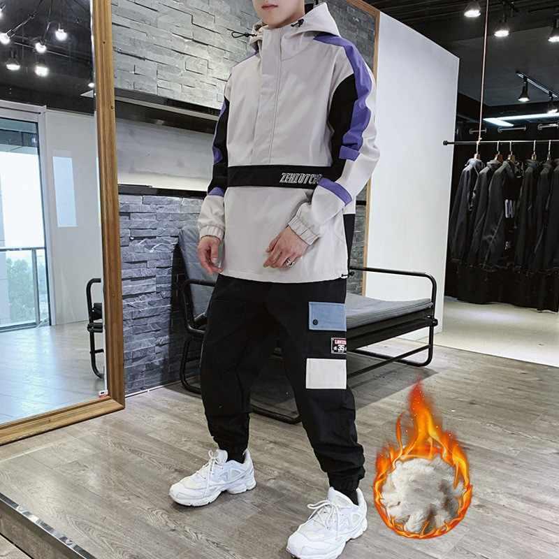 AmberHeard Autumn Winter Men Sport Suit Plus Thick Velvet Hooded Jacket Sweatshirt+Pant Tracksuit Two Piece Sets Male Sportswear