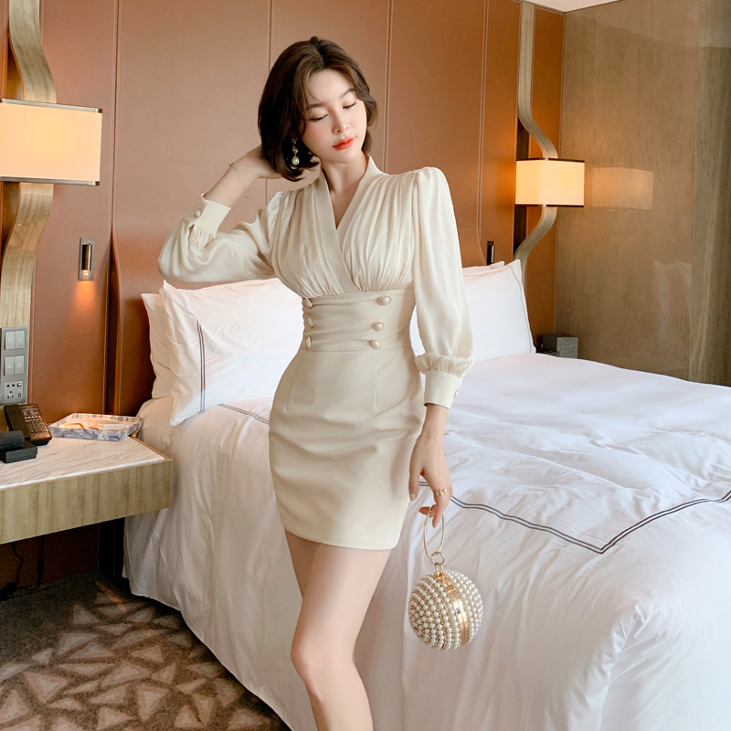2020 early autumn new French temperament double-breasted bag hip slim dress Office Lady  Zippers  Knee-Length 7