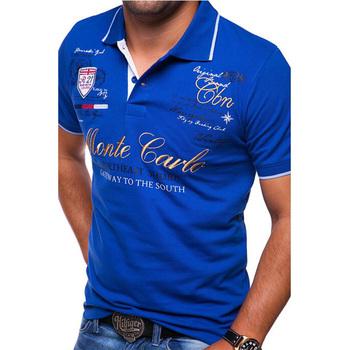 ZOGAA gorąca sprzedaż koszulki Polo moda męska osobowość koszulka z krótkim rękawkiem męskie drukowanie Casual koszulki Polo markowe koszulki wysokiej jakości tanie i dobre opinie SHORT REGULAR Na co dzień NONE BADGE guzik Z elementami naszywanymi litera COTTON Zapobiegające kurczeniu Kolor kontrastu