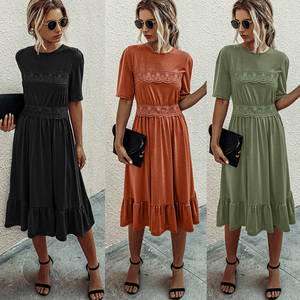 A-Line-Dress Stithing Summer Fashion Lace Half-Sleeve Round-Neck Women Casual Soild-Color