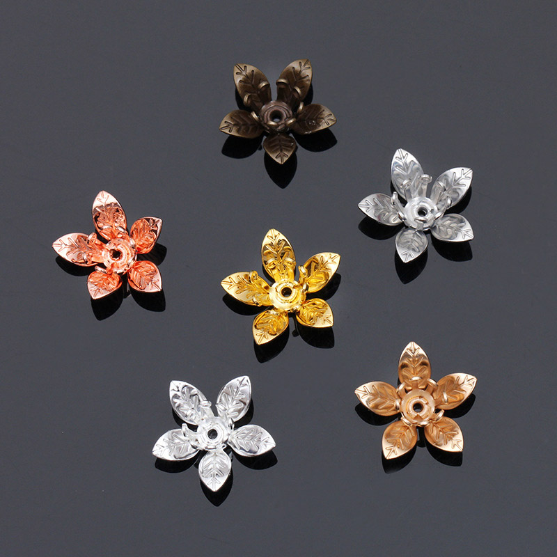 50pcs Gold Silver Color 12*7mm Copper Flower Bead Caps Flower Filigree Loose Spacer Bead End Caps For DIY Jewelry Making Finding
