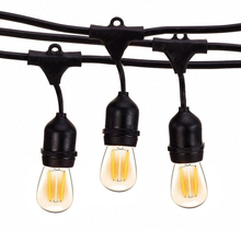 Thrisdar lâmpada com filamento e27 e 10m s14, luz retrô, para rua, para jardim e pátio luz guirlanda