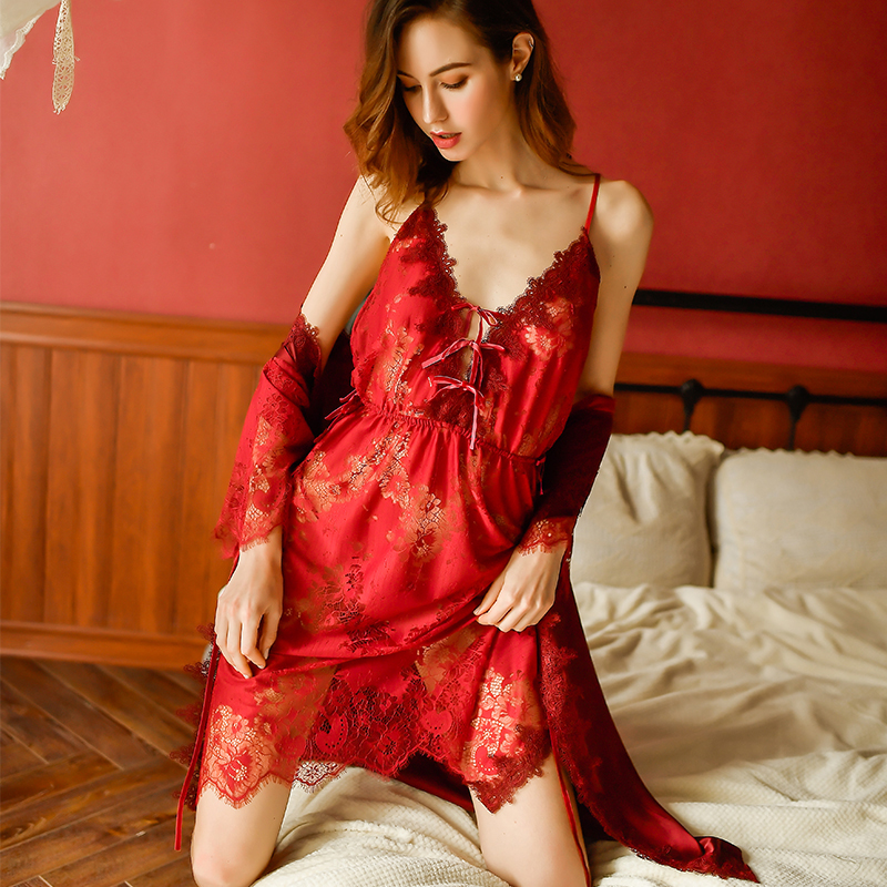Sexy Mousse Women Sleepwear Lace See Through Nightgowns Set Women Lingerie Evening Wear Deep V Bathrobe Young Girl Sling New
