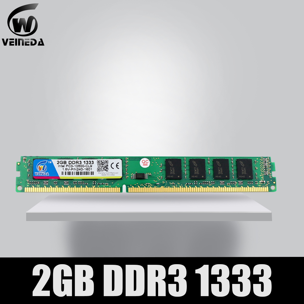 VEINEDA <font><b>DDR3</b></font> 2GB 1333Mhz memory ram ddr 3 1333 pc3-10600 dimm ram for AMD and Intel desktop Compatible <font><b>1066</b></font> 1600mhz rams image