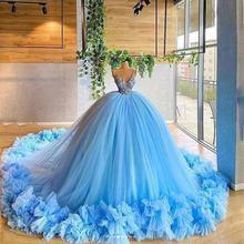 Светильник небесно голубого цвета бальное платье для выпускного