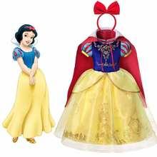 Costume fantaisie Disney blanc neige pour enfants, déguisement d'halloween Cosplay, vêtements de princesse classiques, robe de fête pour filles