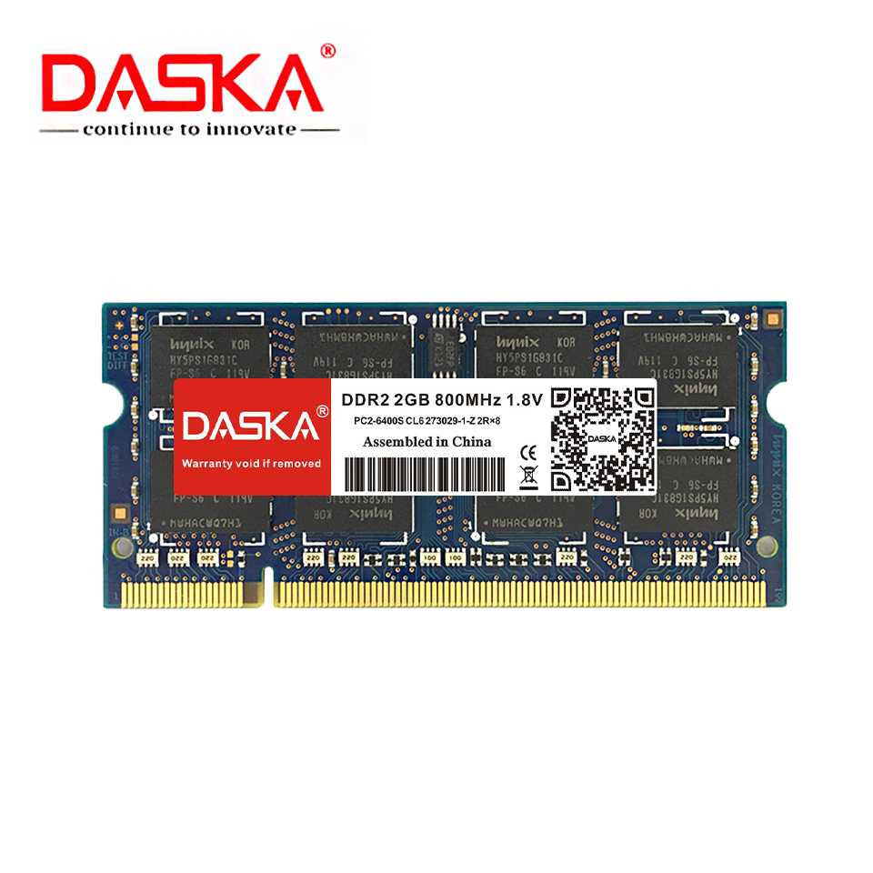 DASKA DDR2 2GB Laptop RAM Memory with 667MHz/800MHz Memory Speed 4