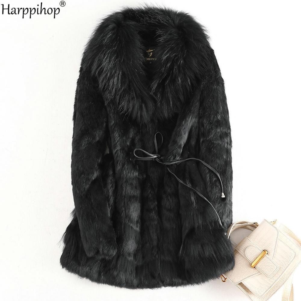 100% Real Whole Rabbit Fur Coat Women's Raccoon Fur Collar Long Rabbit Fur Jacket Long Sleeves Vintage Style Leather Fur Outwear