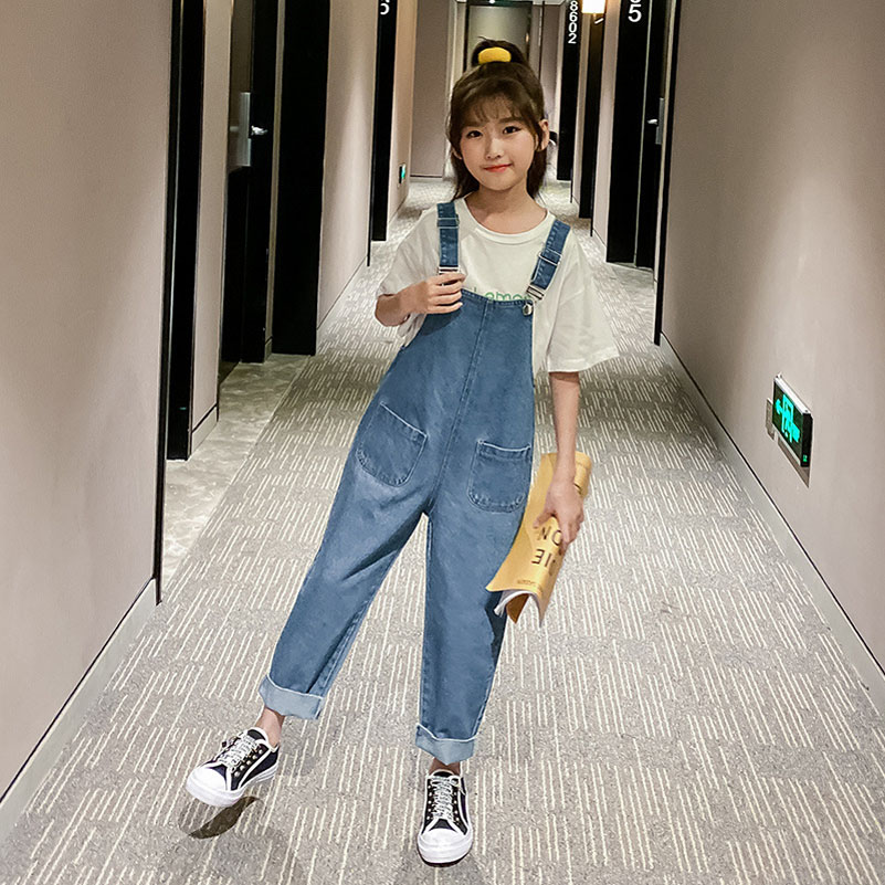 YourSeason 2020 Spring Summer Brief Kids Overalls Denim Pants Fashion Baby Girls Jumpsuits Loose Girls Cotton Suspender Trousers