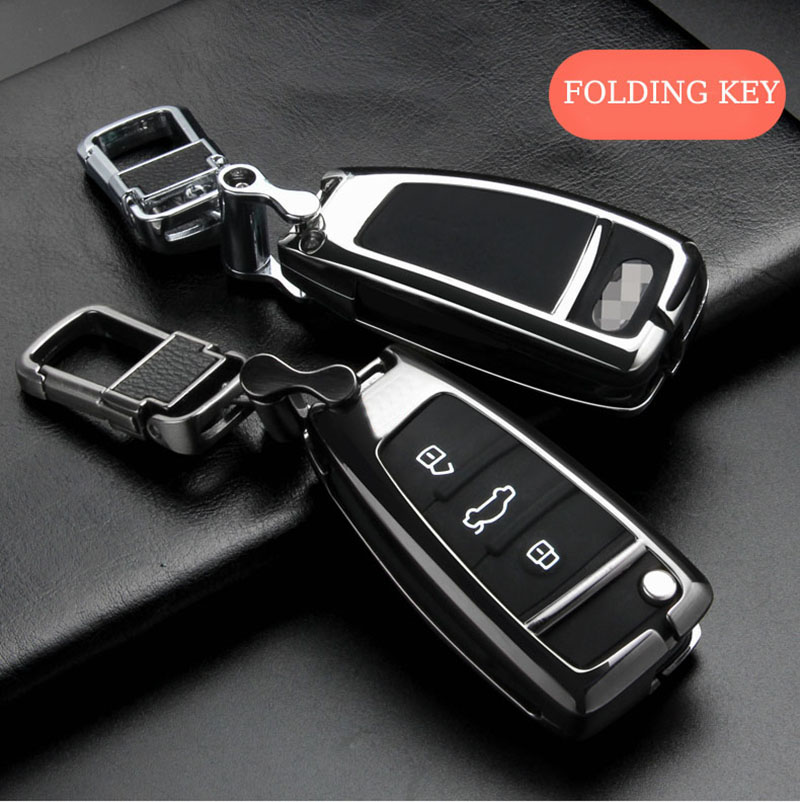 New Metal Car <font><b>Key</b></font> Case For <font><b>Audi</b></font> A1 A3 A4 A5 Q7 <font><b>A6</b></font> <font><b>C5</b></font> C6 Car Holder Shell <font><b>Remote</b></font> Cover Keychain Accessories image