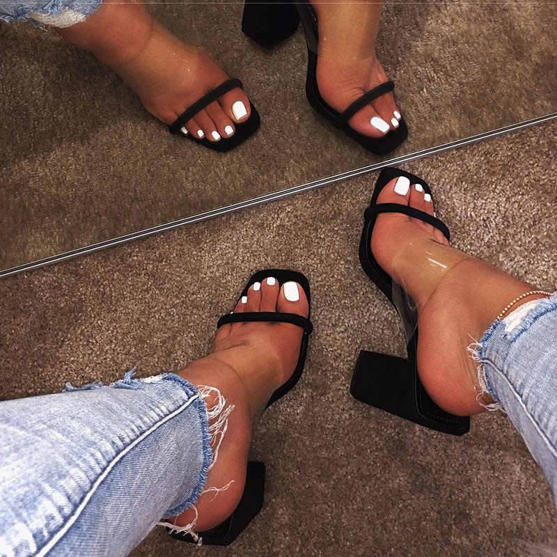2020 nowych kobiet przezroczyste sandały damskie buty na wysokim obcasie kapcie cukierki kolor otwarte palce gruby obcas moda kobiet slajdy letnie buty