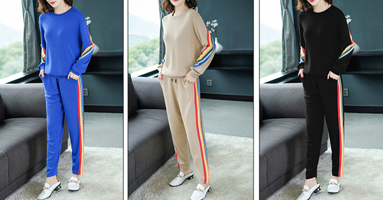 2019 Autumn Knitted Casual Striped Two Piece Sets Outfits Women Sweater And Pants Suits Fashion Elegant Korean Tracksuit Sets 45