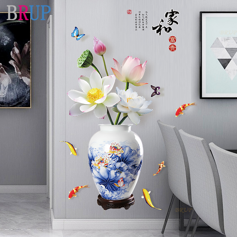 13 Kinds Chinese Style Vase Wall Stickers Fashion Flower Home Decor For Living Room Bedroom Creative PVC Vinyl Room Decoration