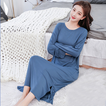 New Ladies Basic Sleep Shirt Sexy Lingerie Solid o-Neck Long Nightgown Modal Sleepwear Summer Loose Pregnant Nighty Nightdress - discount item  35% OFF Women's Sleep & Lounge
